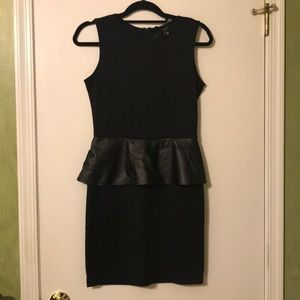 Black Dress With Faux Leather Peplum